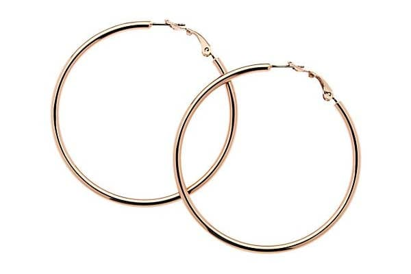 Hoop Earrings in India 2019 - Rose Gold Polish, Big Hoop Earrings
