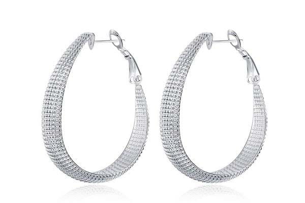 Hoop Earrings in India 2019 - Yellow Chimes Stylish Silver Plated Hoop Earrings