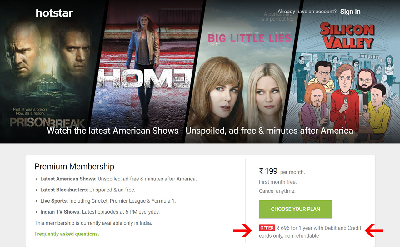 Hotstar Further Discounts Annual Subscription to Rs. 696