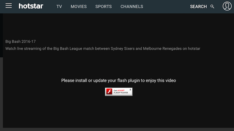 hotstar adobe flash sc Hotstar
