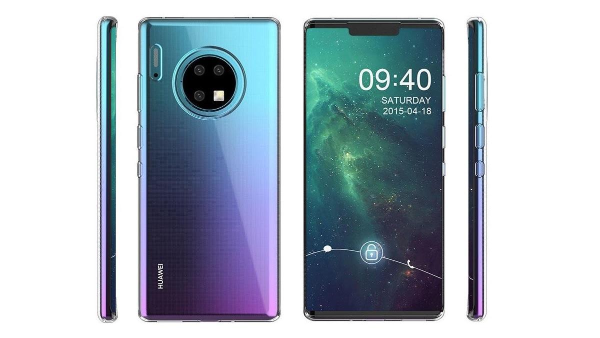 Huawei Mate 30 Series Case Renders Tip Triple Rear Cameras in Circular Module, Gradient Design