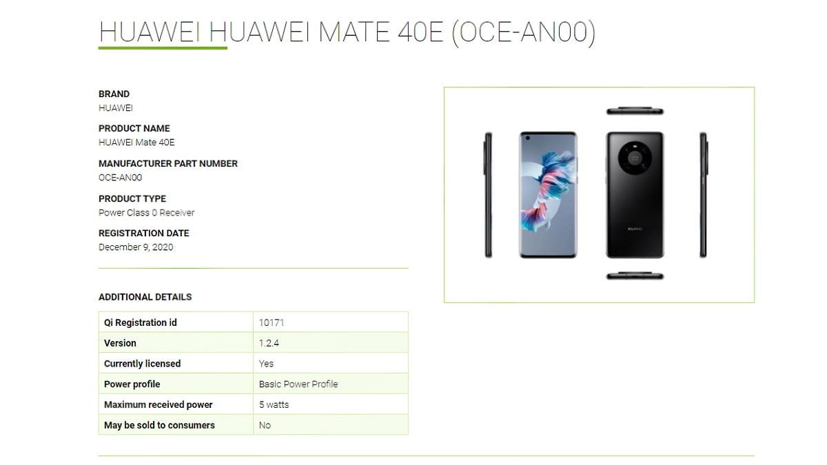 huawei mate 40e wtc lists huawei_mate_40e_wtc_listing