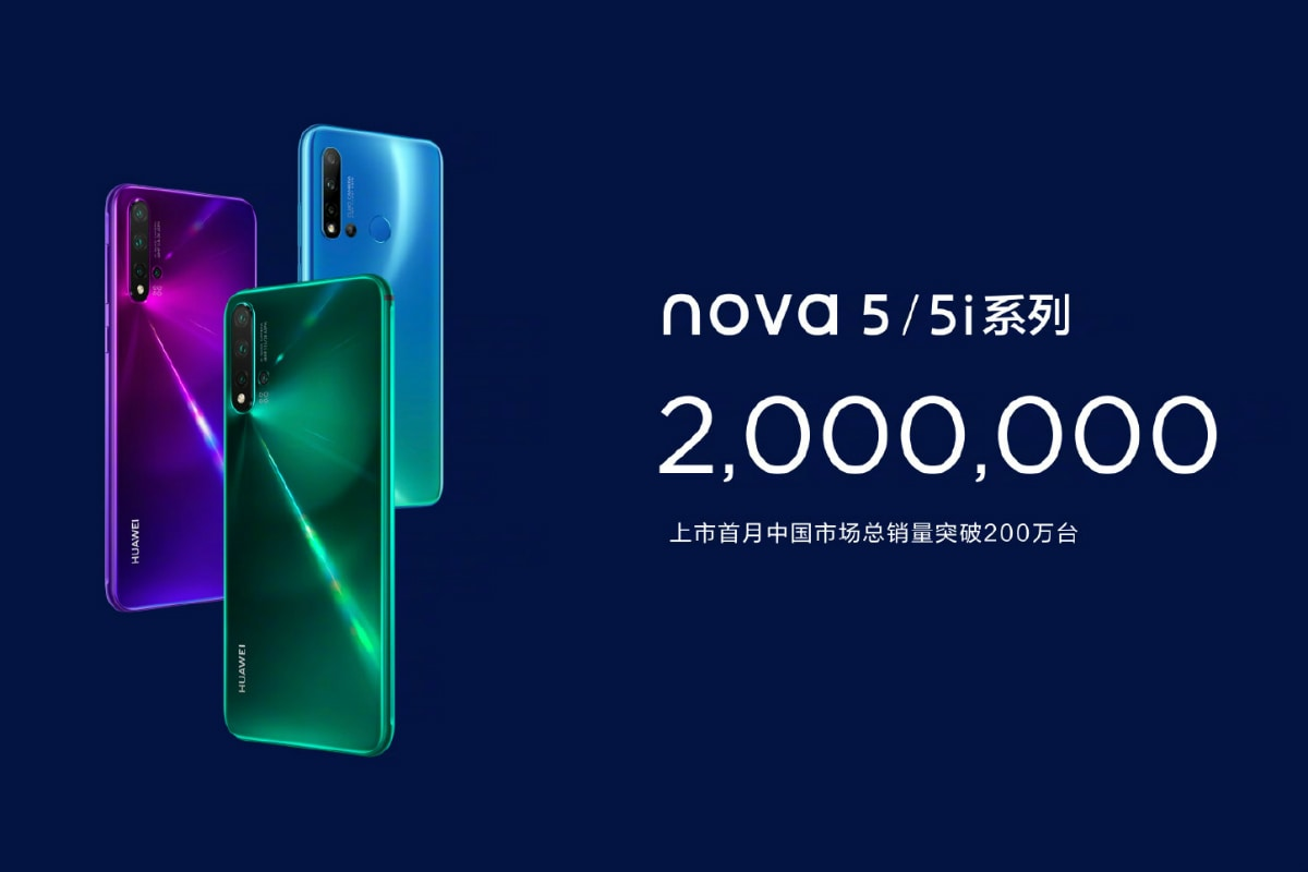 Huawei Nova 5 Series Sales Cross 2 Million Units in a Month