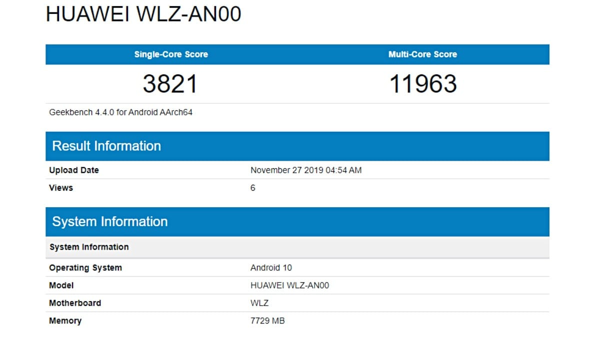 Huawei Nova 6 5G Geekbench Listing Tips Kirin 990 SoC, 8GB of RAM, and Android 10