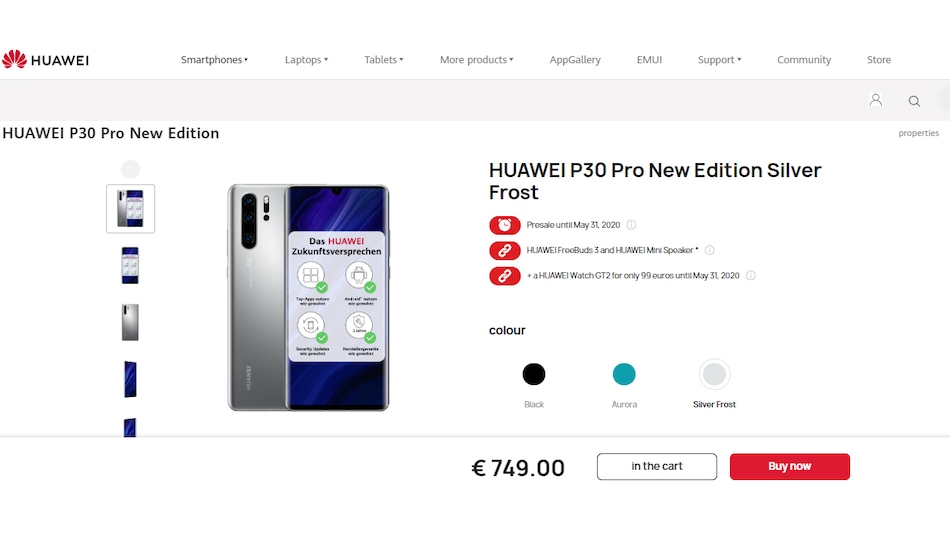 Huawei P30 Pro New Edition With Silver Frost Colour Option, Pre-Installed Google Apps Launched