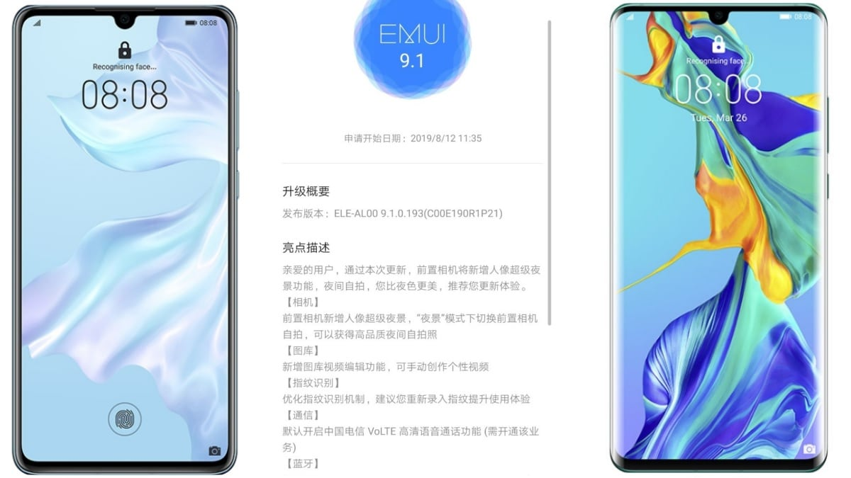 Huawei P30, P30 Pro EMUI 9.1.0.193 Update Adds Super Night Mode Support for Front Camera, More: Report