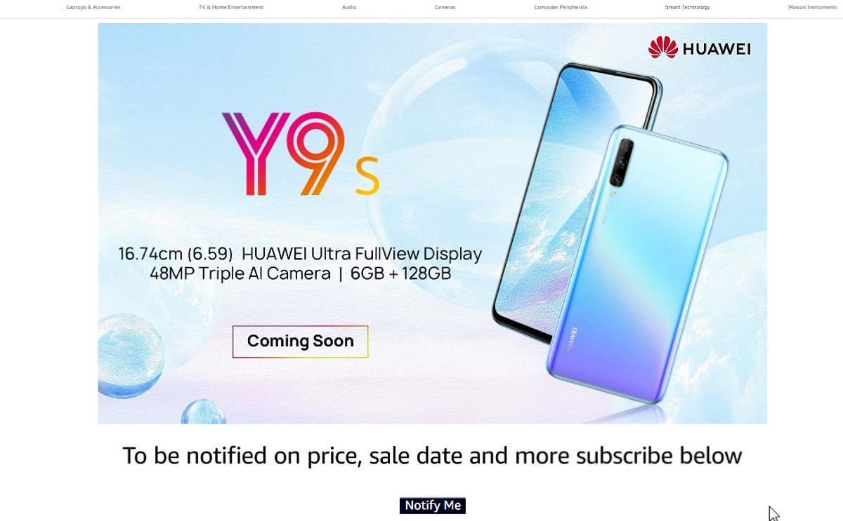 Huawei Y9s Registrations Go Live on Amazon India, Launch to Follow Soon