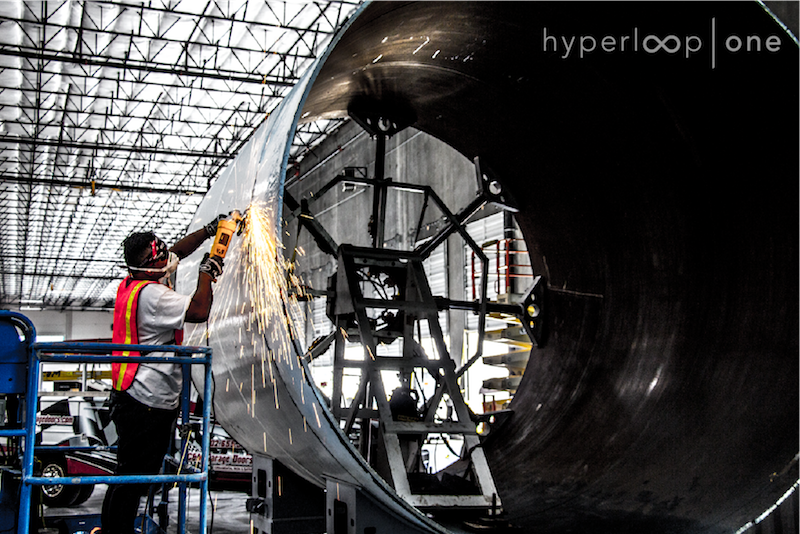hyperloop one welding grind Hyperloop One