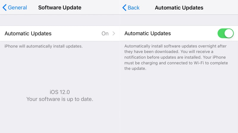 iOS 12 apple automatic updates iOS 12