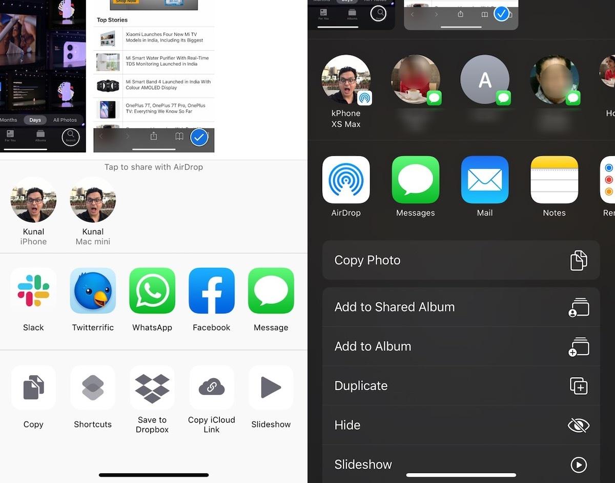 iOS 13 शेयर शीट iOS 13 समीक्षा
