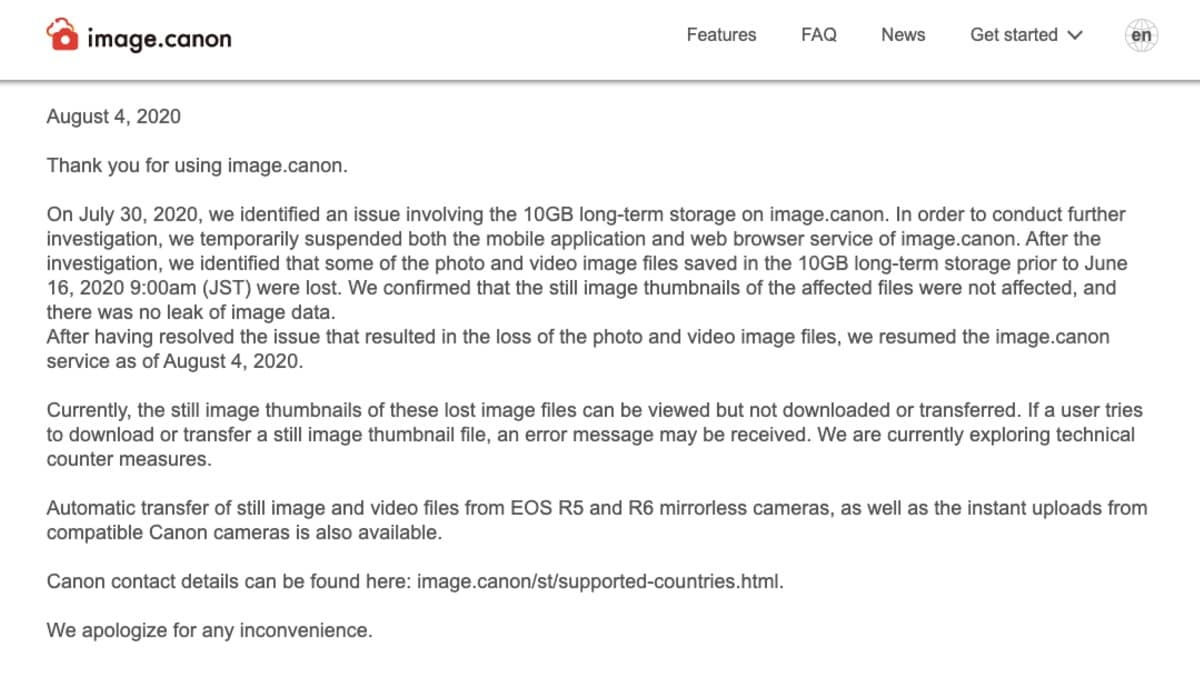 Canon image site hit by ransomware