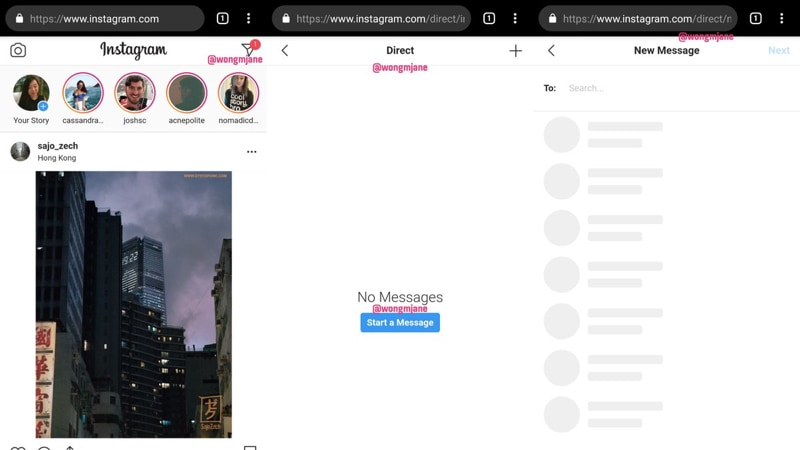 Instagram Direct Messaging Feature for Web Spotted in Testing
