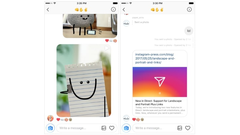Instagram adds landscape/portrait, links support for Direct
