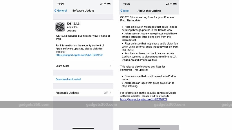 ios 12 1 3 update gadgets 360 iOS 12