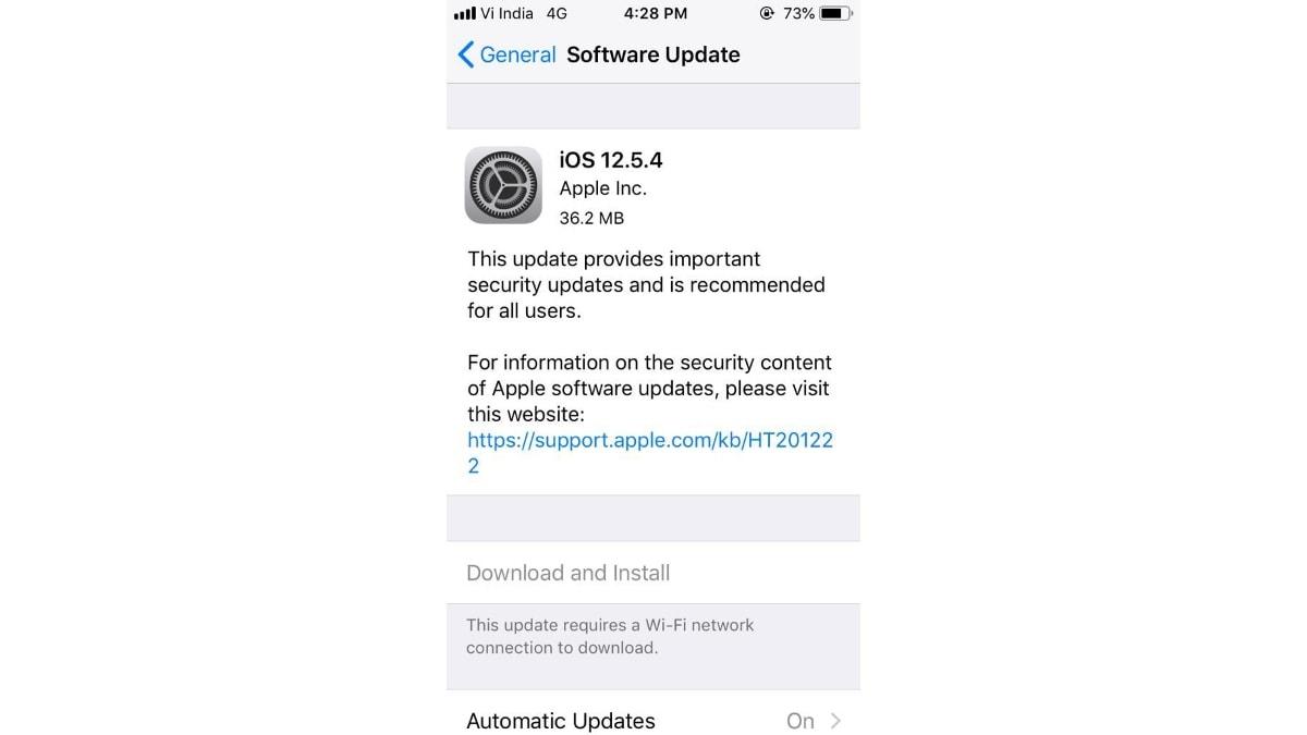 ios 12 5 4 update screenshot image gadgets 360 iOS 12.5.4