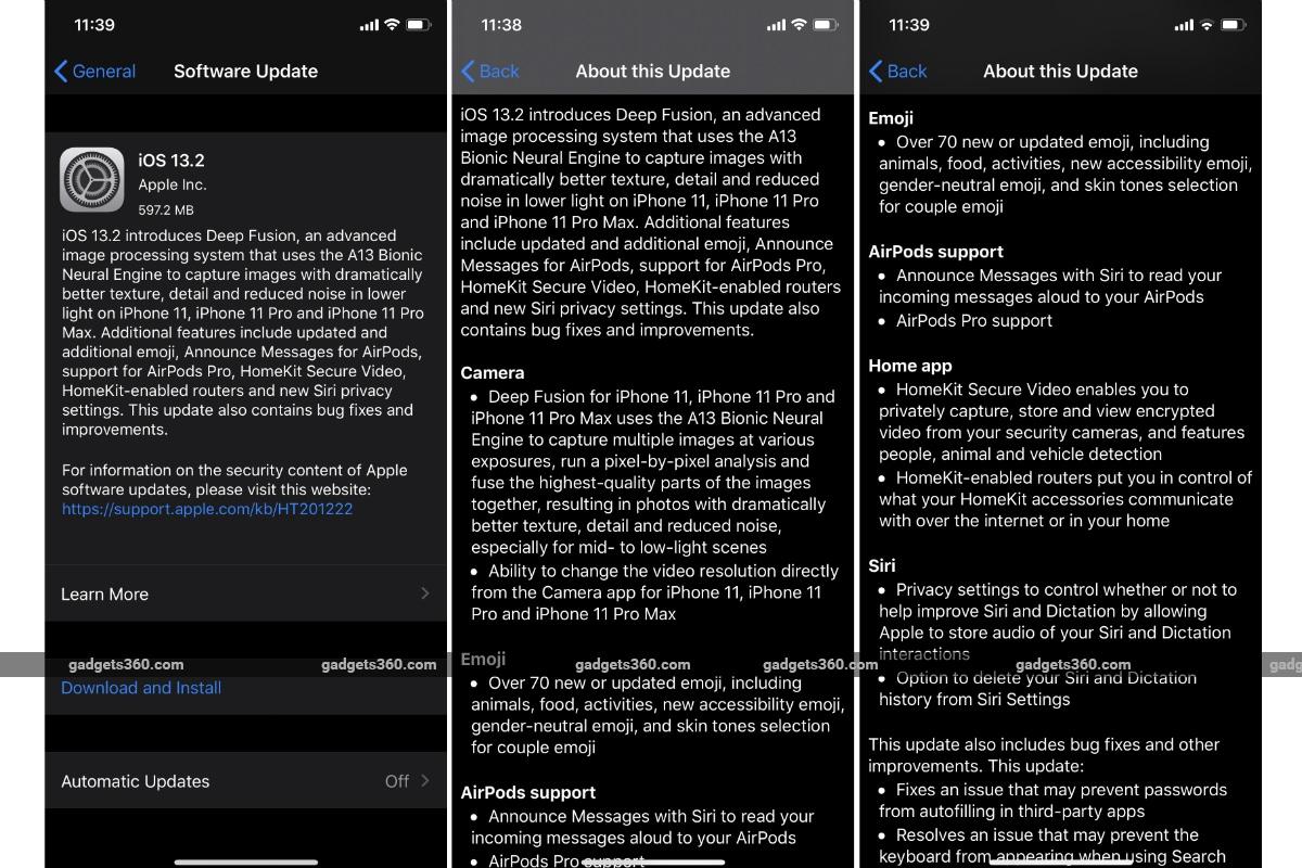 ios 13 2 update gadgets 360 iOS 13.2  Apple