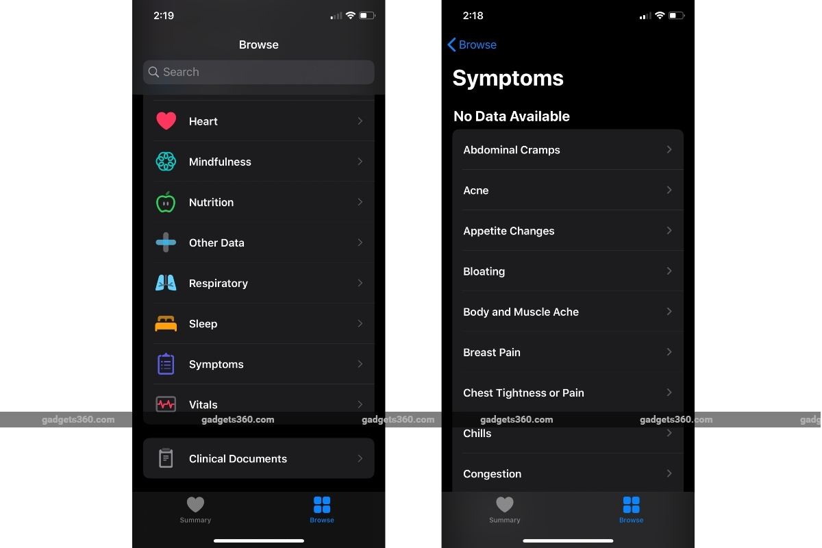 ios health app symptoms gadgets 360 iOS 13.6  Apple Health