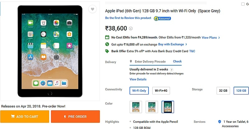 Apple 9.7-inch iPad (2018) pre-orders now open on Flipkart; prices start at Rs 28000