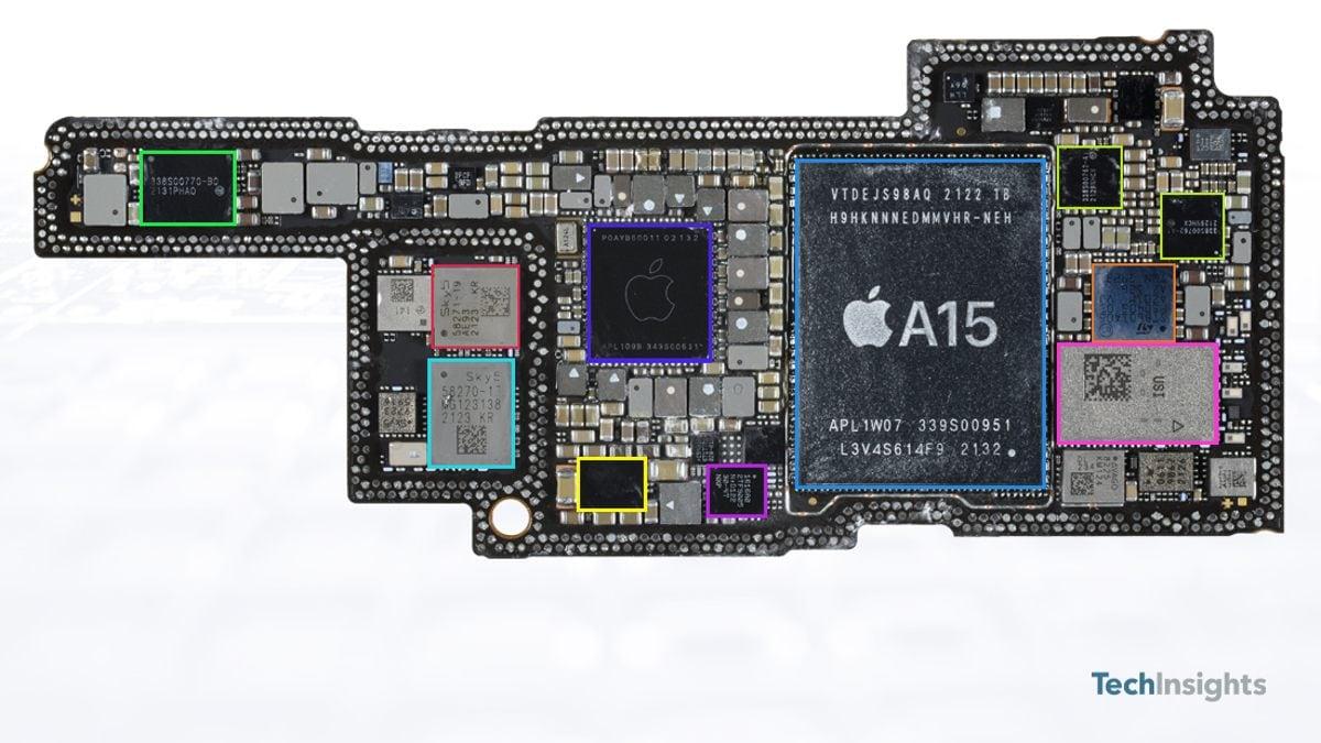 iphone 13 pro teardown board components a15 bionic soc image techinsights iPhone 13 Pro