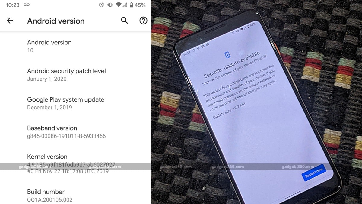 Google Pixel Phones Start Receiving January 2020 Android Security Patch, Pixel 4 Gets Fix for Colour Shift Issue