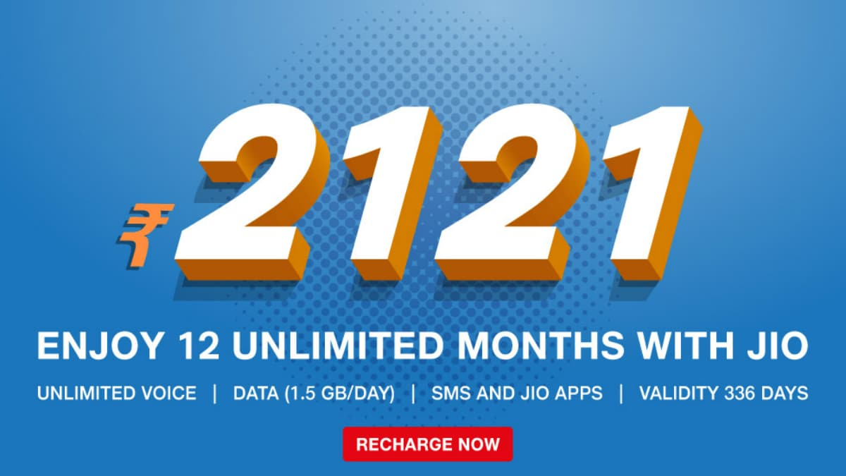 Jio Launches Rs. 2,121 Prepaid Recharge Plan With 1.5GB Daily High-Speed Data for 336 Days