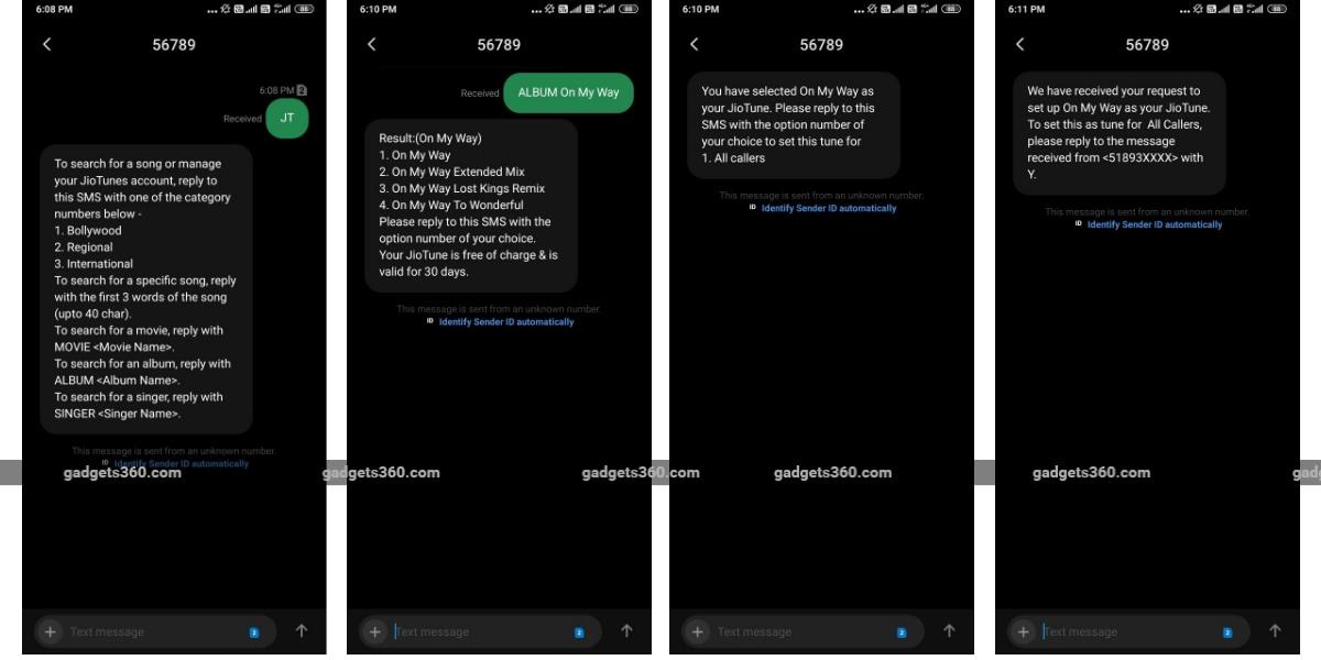 jio caller tune sms screenshots gadgets 360 Jio caller tune  JioTune  Jio