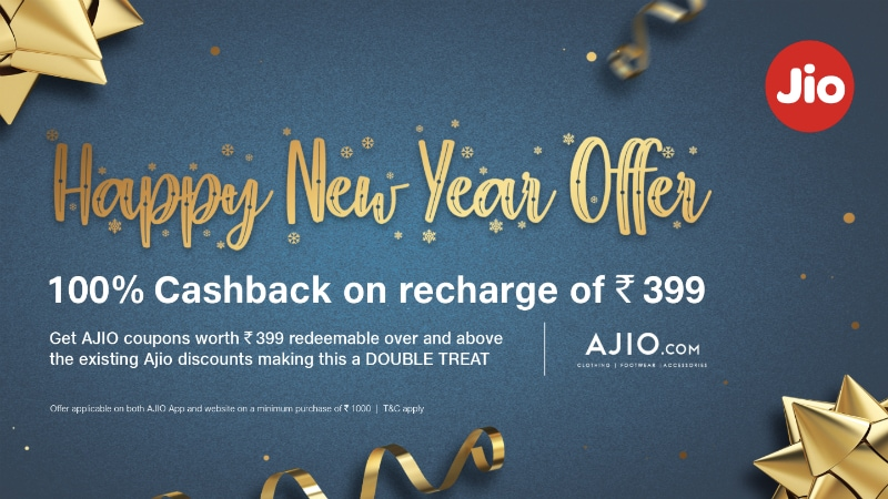 Jio Happy New Year Offer 2019 Gives '100 Percent Cashback' on Rs. 399 Recharge