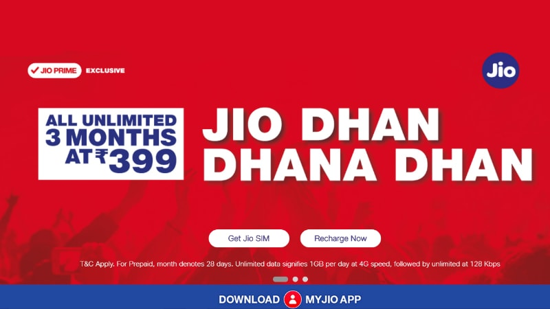 Jio Dhan Dhana Dhan Offer Benefits Continue With New Pack: 84GB Data for 84 Days at Rs. 399