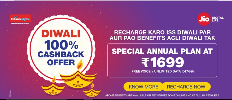 Jio's Diwali '100 Percent Cashback' Offer Is Live, Rs. 1,699 Annual Recharge With 1.5GB Data per Day Launched
