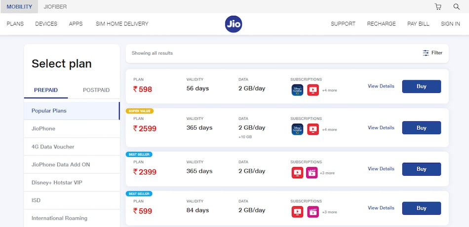 Jio Introduces Super Value, Trending, and Best Seller Labels for Prepaid Plans