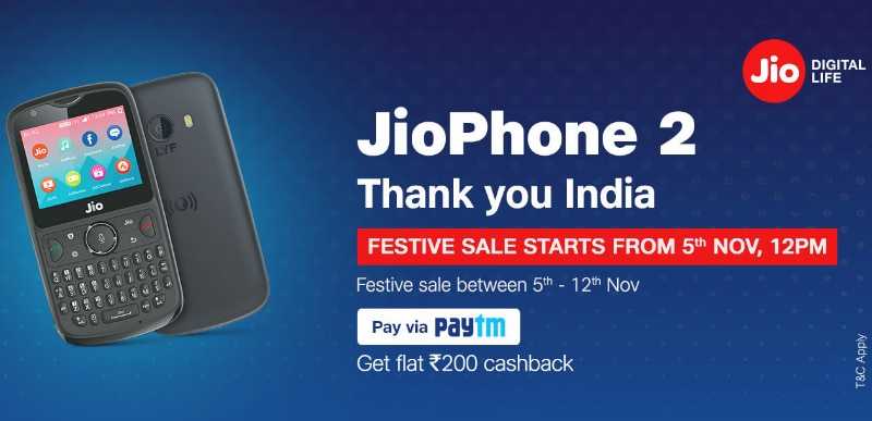 Jio Phone 2 Festive Open Sale to Be Held From November 5 to 12 on Jio.com