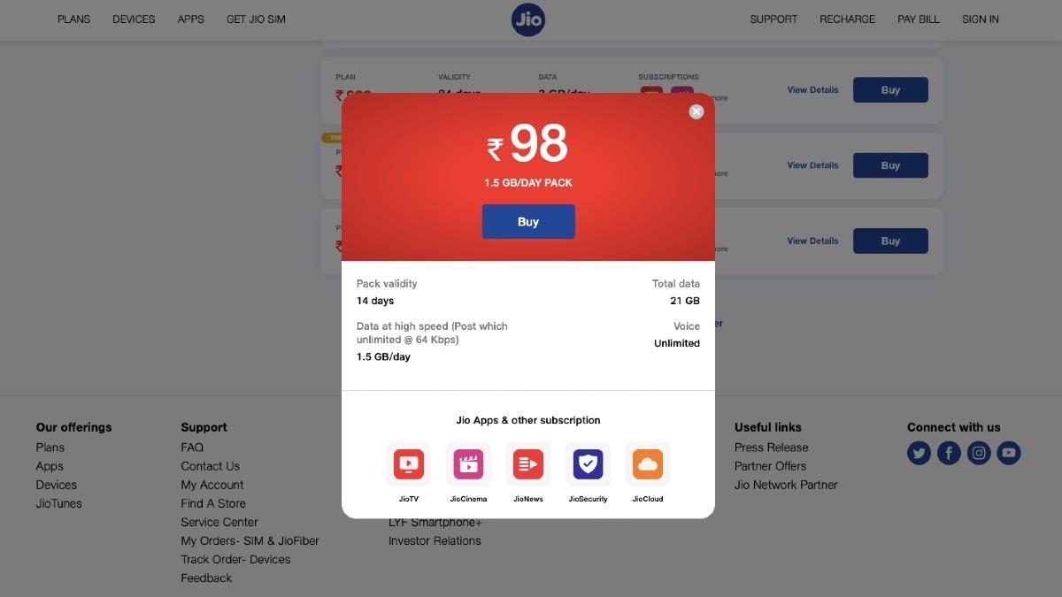 jio rs 98 prepaid recharge plan revision screenshot gadgets 360 Jio