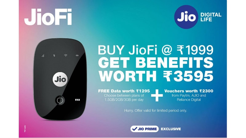 JioFi Rs. 1,999 Offer to Give Free Data and Vouchers Worth Rs. 3,595