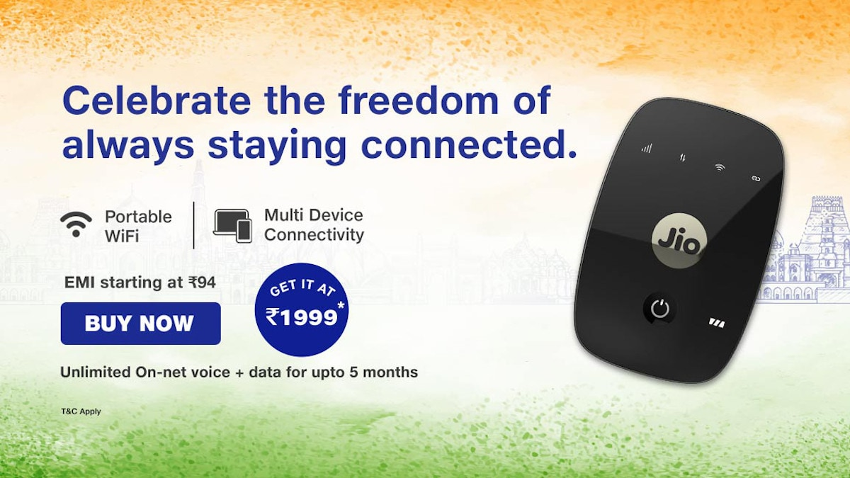 Jio Offers 5 Months of Free Data and Calls With JioFi For Independence Day