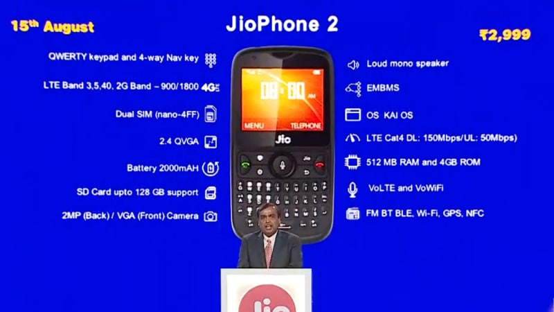 Jio Phone 2 With QWERTY Keypad, WhatsApp Support Launched at Rs. 2,999