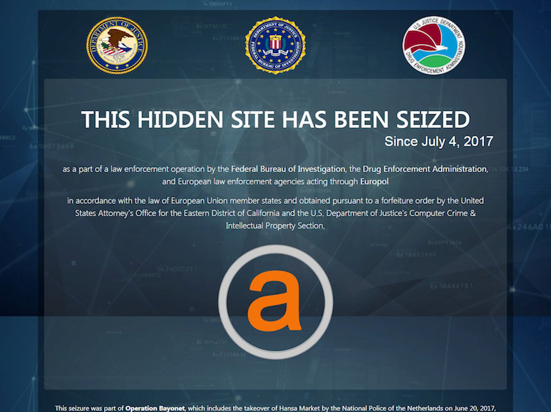 AlphaBay Dark Web Marketplace Shutdown by US Justice Department
