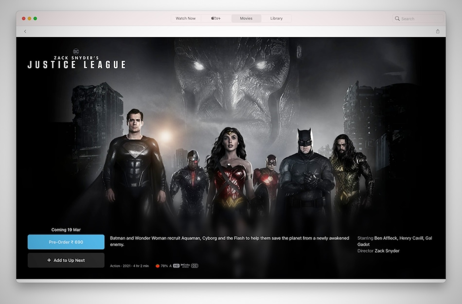 Justice League Snyder Cut Apple TV Pre-Orders Live in India