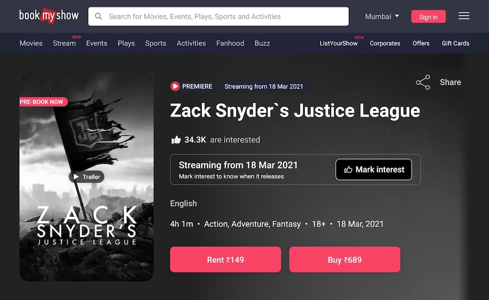 Justice League Snyder Cut Racks Up 31,000 Pre-Orders on BookMyShow Stream