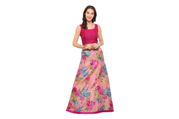 best lehenga designs Inddus Women's Chanderi Cotton Blend Semi-Stitched Crop Top with Lehenga
