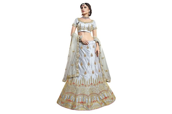 best lehenga designs Manvaa Women's Silk Embroidered Lehenga Choli In Grey Color