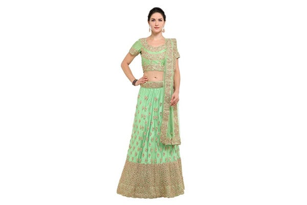 best lehenga designs Inddus Women's Blended Fabric Zari Embroidered Semi-Stitched Lehenga Choli