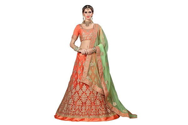 best lehenga designs Aasvaa Light Orange Color Net Weaving Semi-Stitched Lehenga Choli