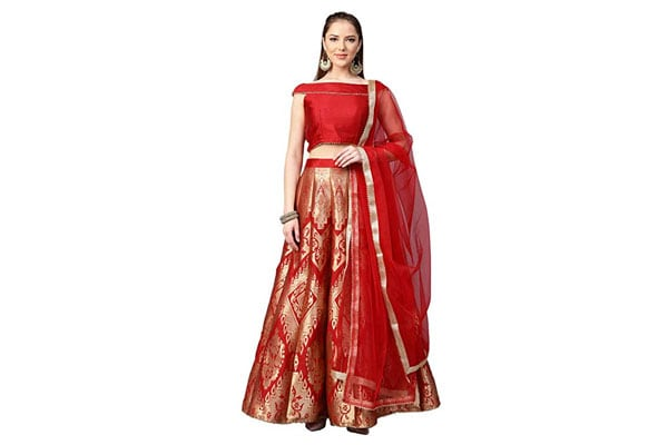 best lehenga designs Inddus Red Silk Zari Woven Kalidar Lehengha with top and dupatta