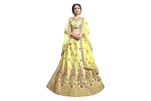 BEST LEHENGA DESIGNS Manvaa Women'S Silk Embroidered Lehenga Choli In Light Yellow Color