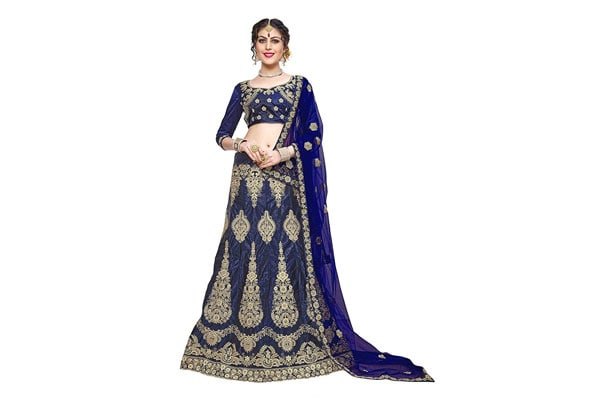 best lehenga designs Manvaa Bangalori Silk Women's Embroidered Lehenga In Blue Color