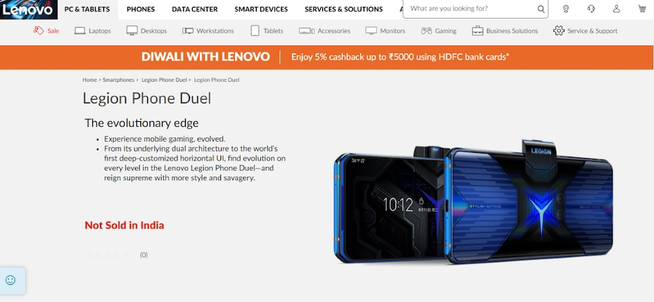 Lenovo Legion Phone Duel Listed on India Site, Launch Expected Soon