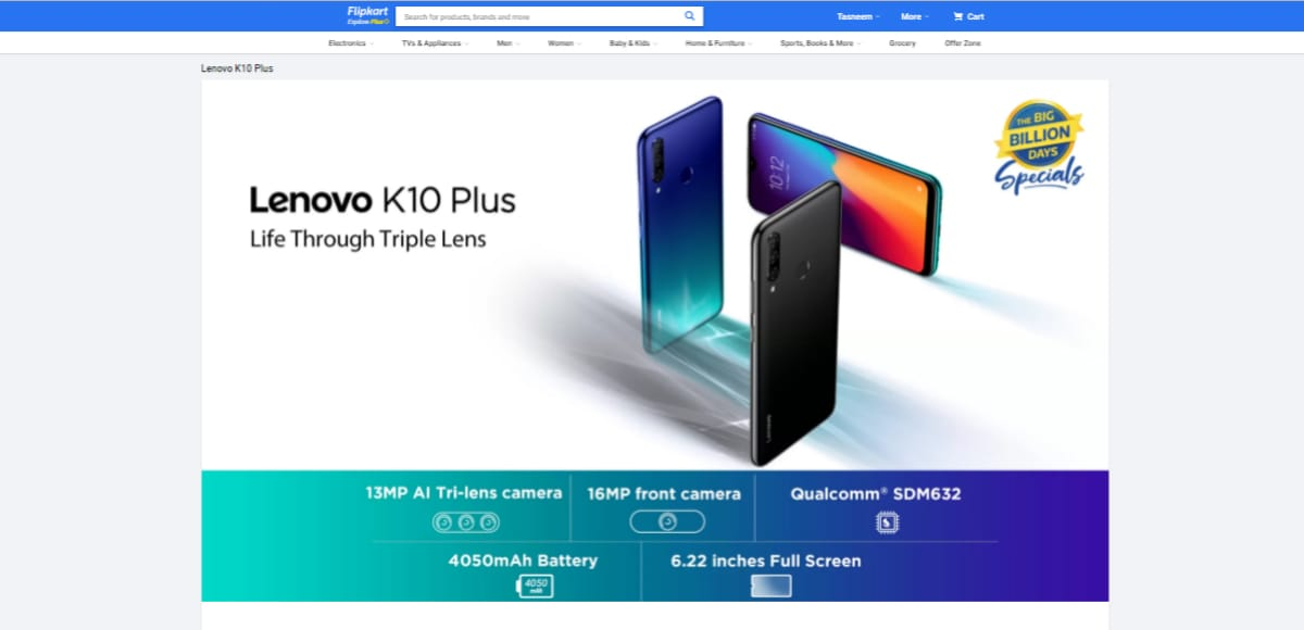 Lenovo K10 Plus With Triple Rear Cameras, 4,050mAh Battery to Launch in India on September 22, Flipkart Teaser Page Reveals