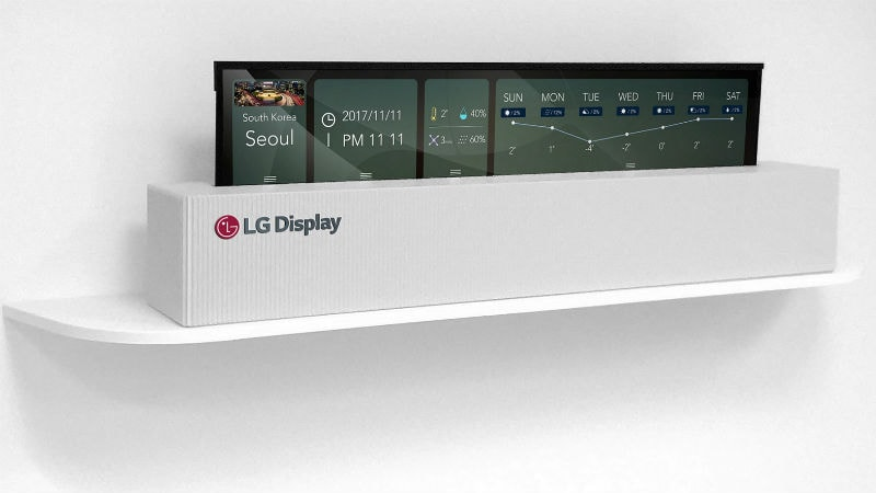 lg 65 inch uhd rollable oled display image LG rollable OLED display  LG