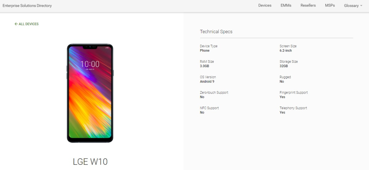LG W10 Spotted on Android Enterprise Directory, Listing Specifications Ahead of Expected India Launch