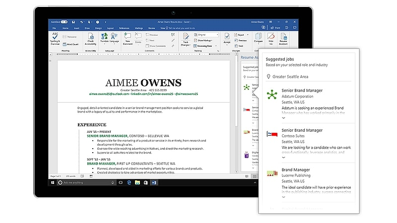 microsoft word gets a resume assistant  powered by
